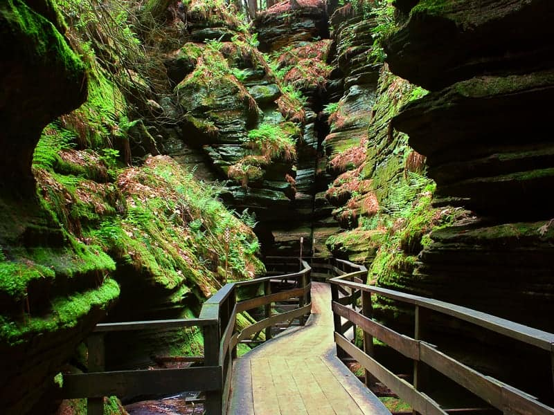 Top tourist attractions in Wisconsin, Witches Gulch is a beautiful slot canyon in the Wisconsin Dells.