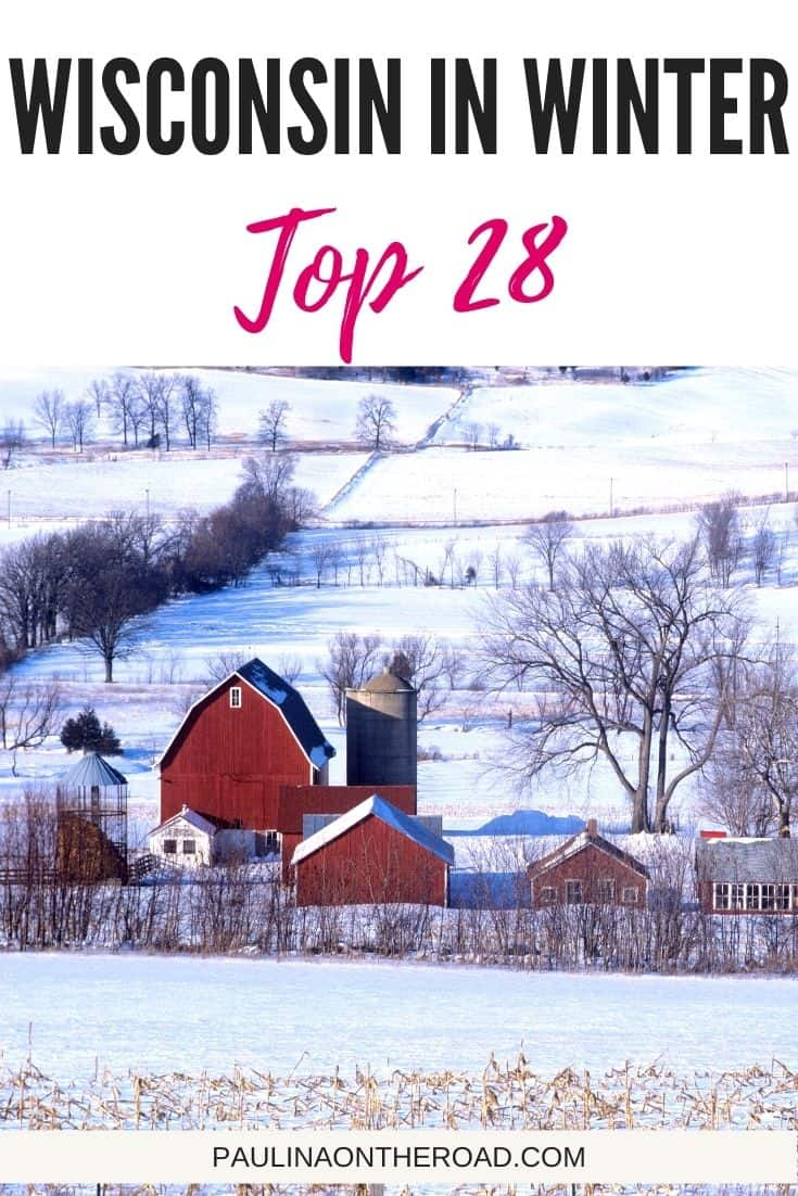Are you looking for Wisconsin Winter Getaways or simply inspiration on things to do in Wisconsin in Winter? This guide gives the best tips on Winter Wisconsin Dells and Wisconsin travel in Winter months. You're wondering what to do in Wisconsin in winter? From snow shooing to skiing, to Winter Festivals or Christmas cabins, there are many reasons to visit Wisconsin in Winter. #wisconsin #winter #wintertravel #wintervacay #winterwisconsin #wisconsingetaways #wisconsintravel #skiing #winterfest #lakegeneva