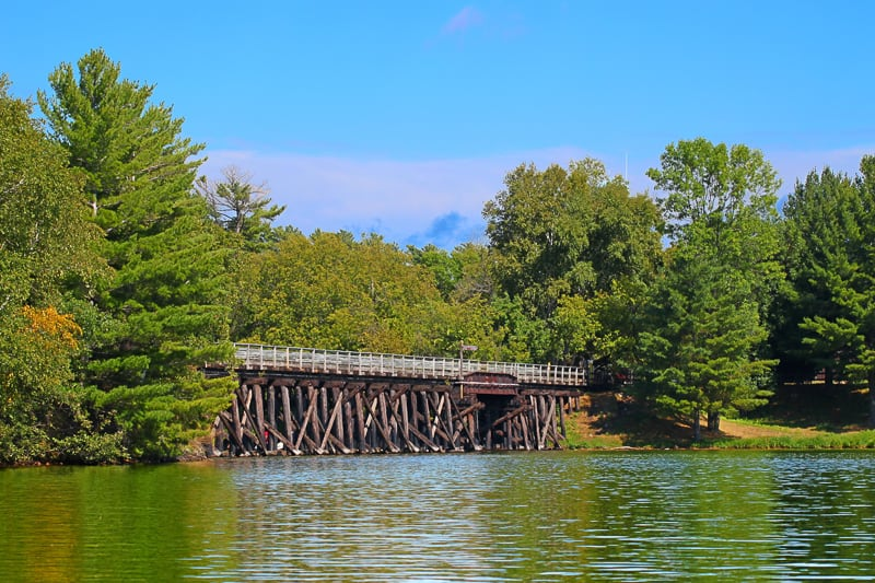 best day hikes in wisconsin, Rustic wooden trestle across the Bearskin State Trail in Minocqua Wisconsin.