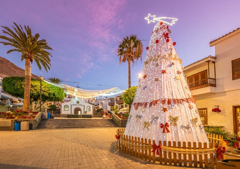Landscape with Christmas market in Puerto de Santiago city, Tenerife, Canary island, Spain