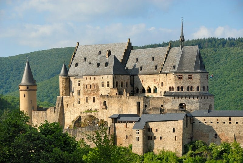 Castle in the city of Vianden in Luxembourg, day trip from brussels to luxembourg