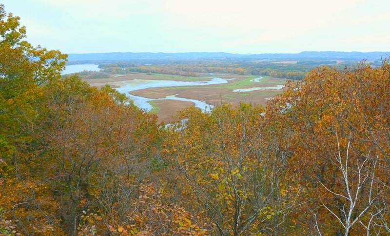 top hiking trails in wisconsin, Panoramic autumn scenery at Perrot State Park in southwest Wisconsin.