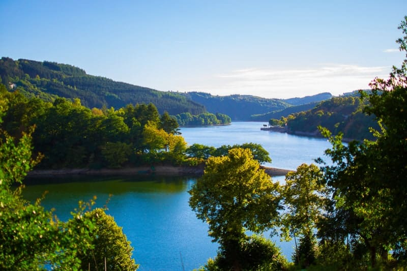Lultzhausen, Esch-sur-Sure, Luxembourg. Beautiful landscape with green mountains at the both sides