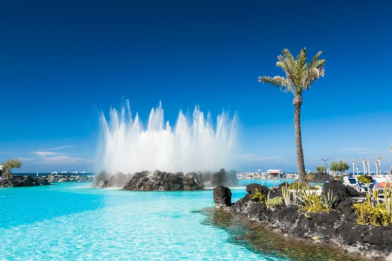Beautiful saltwaterpools Lago Martianez in Puerto de la Cruz, Tenerife, Spain