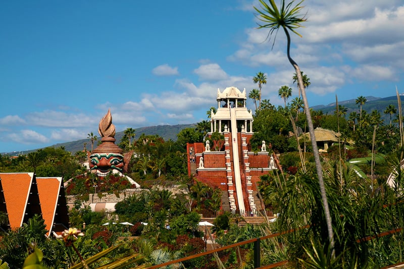 Postcard View from Siam Park, Tenerife, Temple waterslide, things to do in tenerife with kids, family things to do in tenerife, activities