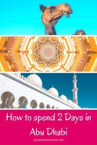 2 Days in Abu Dhabi? An Abu Dhabi Itinerary to spend 48 Hours in the capital of UAE including mosque, Ferrari World and desert safari. Spend the perfect weekend in Abu Dhabi. #abudhabi #uae #abudhabilayover #desertsafari #visitabudhabi #mosque #48hours #2days #citytravel