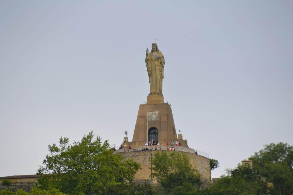 statue in san sebastian, spain standing on monte igueldo