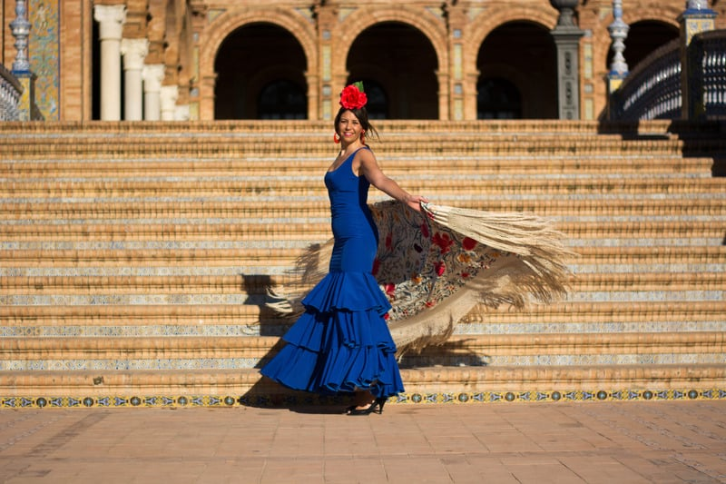 spanish girls dancing flamenco in seville