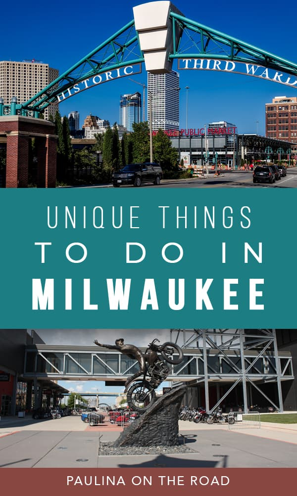 A selectoin of cool and unique things to do in Milwaukee. Explore the best places to see in Milwaukee and where to eat in Milwaukee. #milwaukee #wisconsin #midwest #alternativetravel #milwaukeeartmuseum #harleydavidson #thirdward #biking #hiking #foodtour