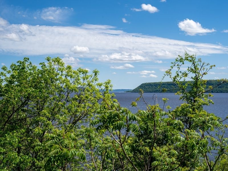 View of Lake Pepin Wisconsin on a sunny spring day