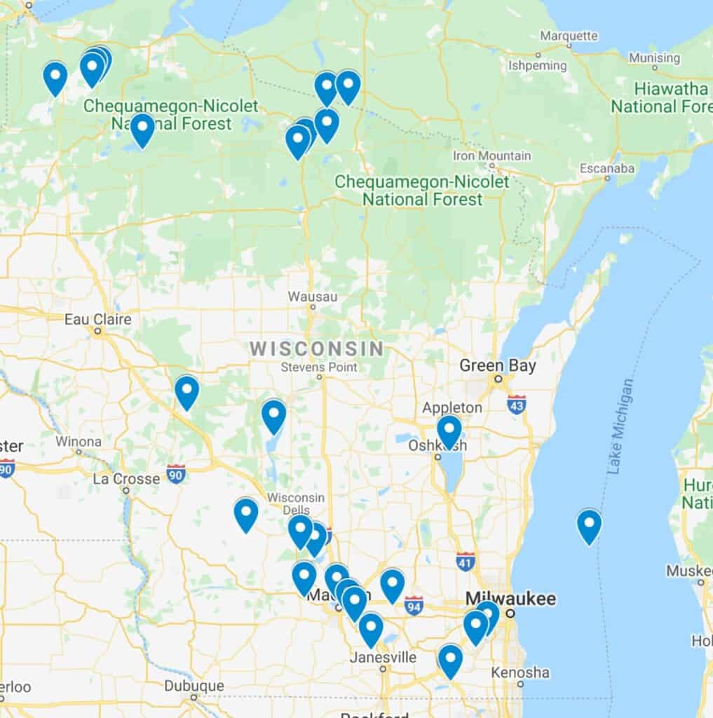 best lakes in wisconsin map