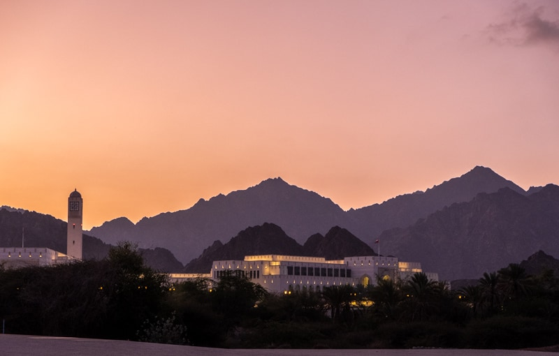 where to stay in muscat, oman, best hotels in oman, sunset in al bustan