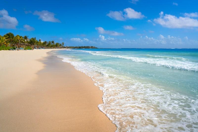 best beaches in riviera maya, palm trees,, akumal beach