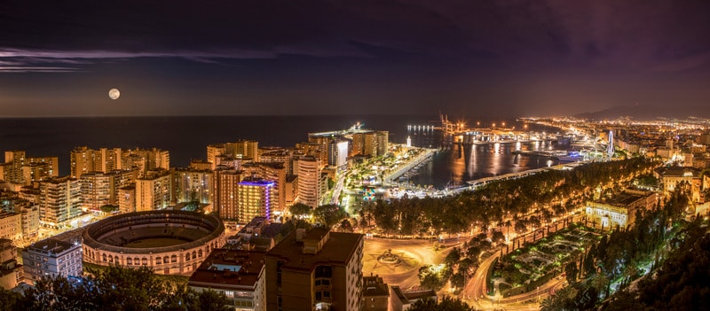 best paradores in spain, view on malaga at night, gibralfaro malaga parador