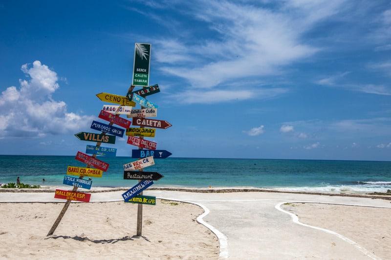 best beaches in riviera maya, palm trees, caleta tankah beach, hotels, resorts