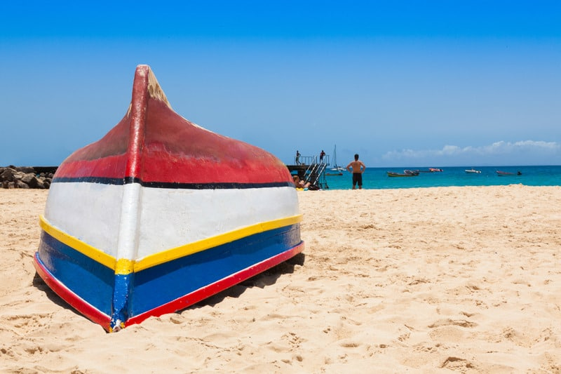 Fisher boat in Santa Maria beach in Sal Cape Verde - Cabo Verde, sal holidays, sal vacation, sustainable holidays in sal, cape verde