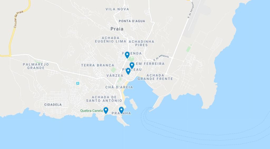 praia map cabo verde