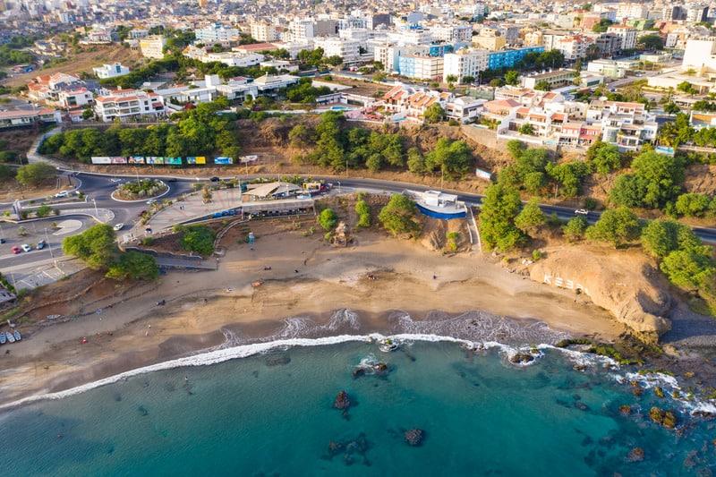 Things to do in Santiago Island, Cape Verde, Aerial view of Kebra Kanela - Quebra Canela beach in Praia.