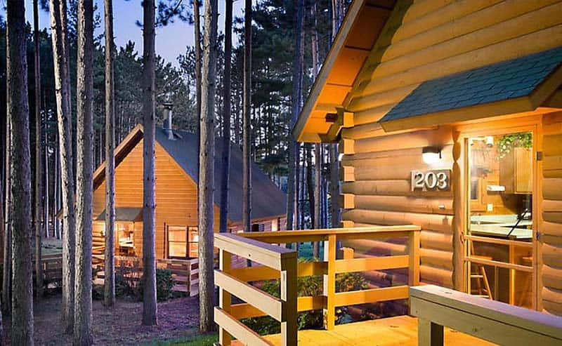 Romantic Cabins in Wisconsin, front view of cabin in Christmas Mountain Village in Wisconsin