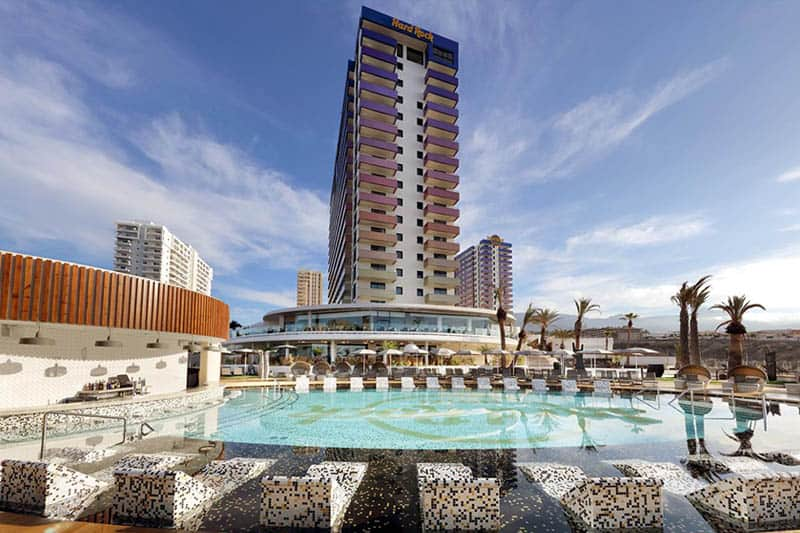 Best Family Hotels in Tenerife, Pool view with a front view of the hotel