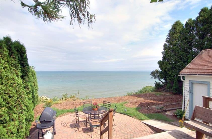 Romantic Cabins in Wisconsin, Rear deck, yard and Lake Michigan view!