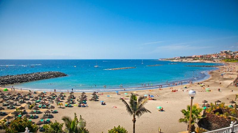 Best Family Hotels in Tenerife, Beautiful send beach in Adeje Playa de las Americas on Tenerife