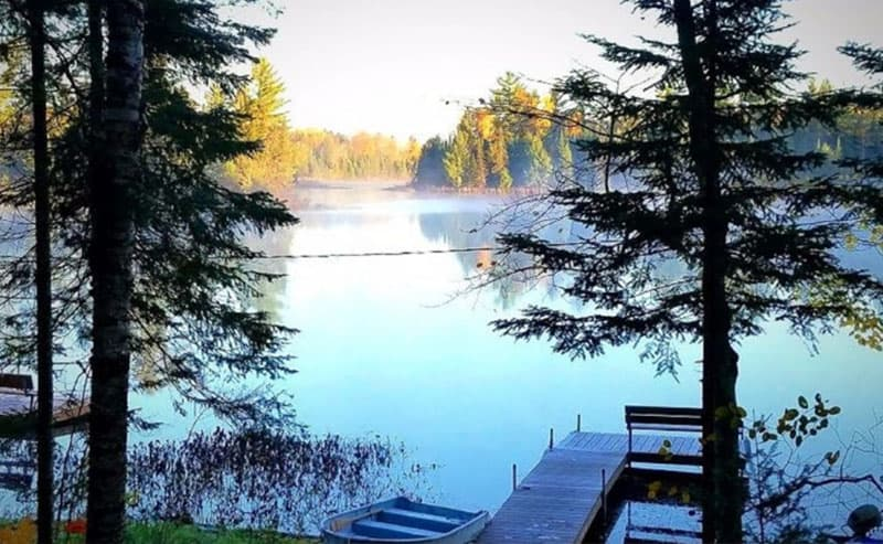 Romantic Cabins in Wisconsin, Morning view from your cabin and  with Private Dock and Row Boat
