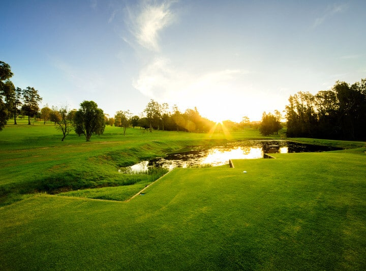 Golf course, sunset