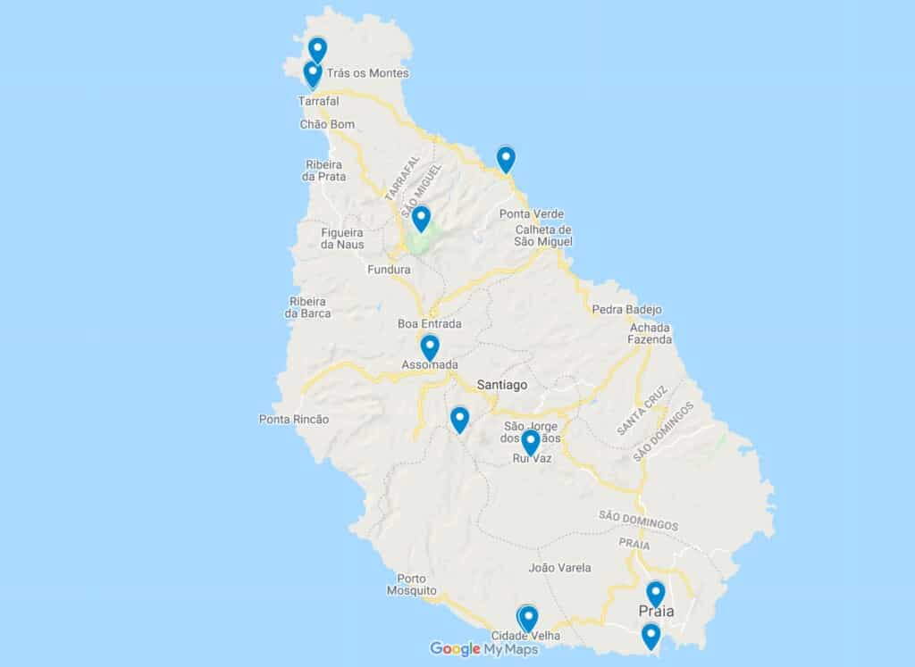 santiago island map cabo verde