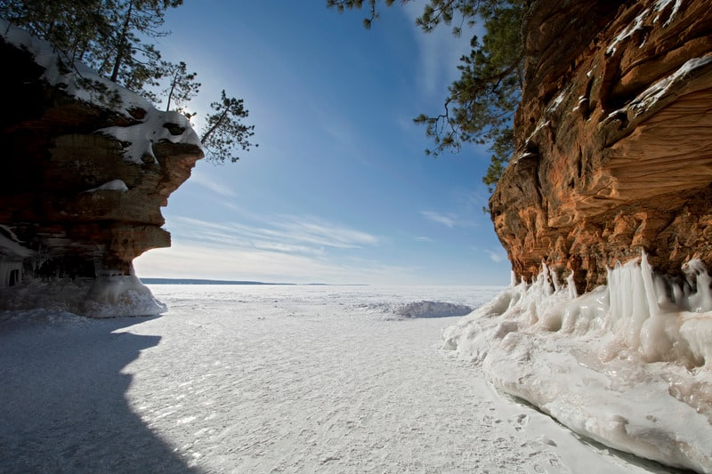 Winter Getaways for Outdoor Lovers, Apostle Islands Ice Caves on frozen Lake Superior, Wisconsin