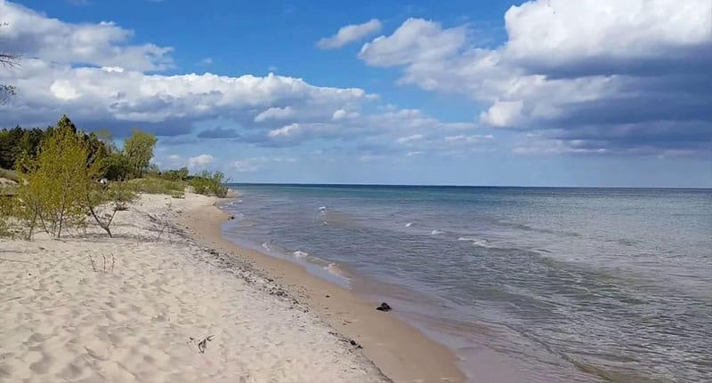 Best Beaches in Wisconsin, beach view of Kohler-Andrae State Park, Sheboygan