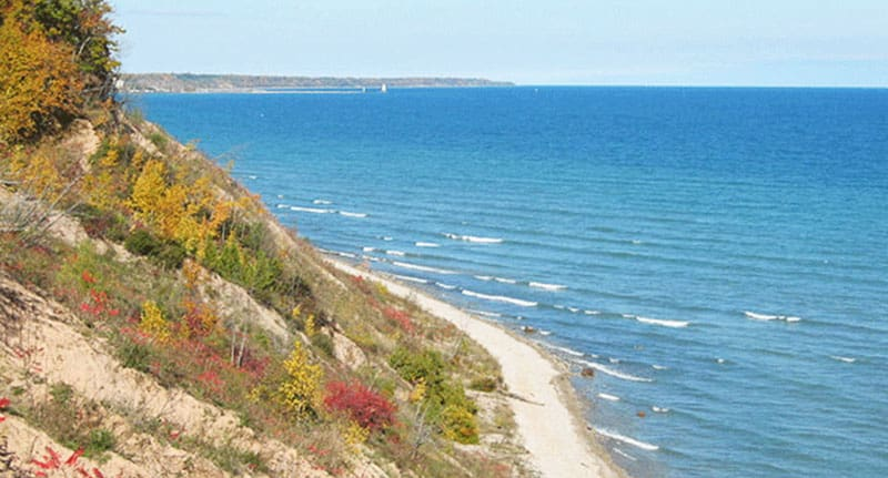 Things to Do in Door County in Wisconsin, Top view of Lion's Den Gorge Nature Preserve, Lake Michigan