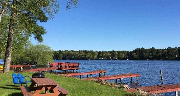 Best Resorts in Northern Wisconsin, Natural environment with lake front view of Rainbow's End Resort