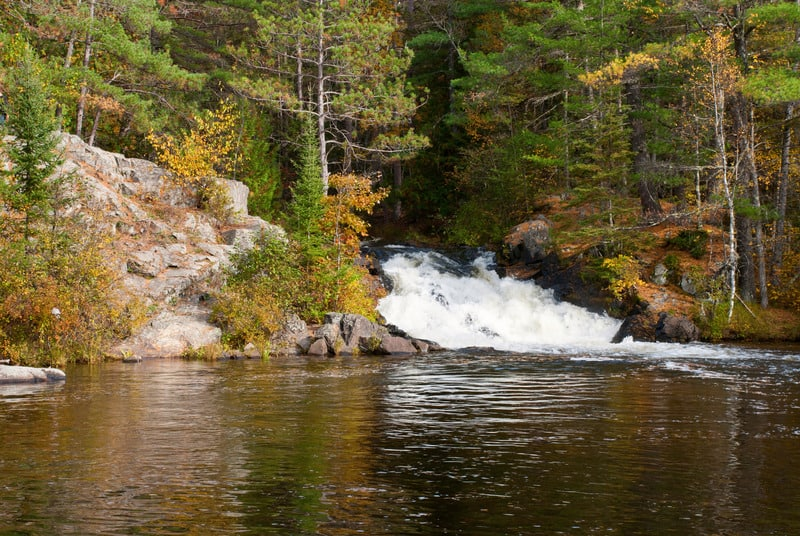 Things to do in Northern Wisconsin, Twelve Foot Falls  located on the Pike River in Marinette County, Wisconsin, USA