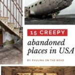 Looking for abandoned places to visit? Find the ultimate list of beautiful abandoned places, some of them may really creepy, others are extremely beautiful deserted places and make great settings for a photo shoot. Among the best abandoned places in the US, you can find abandoned ghost towns, deserted mines, abandoned towns and more. All of them with their own aesthetic. #usa #usatravel #desertedplaces #abandonedplaces #coolabandonedplaces #creepyabandonedplaces #outdoortravel #abandonedphotoshoo