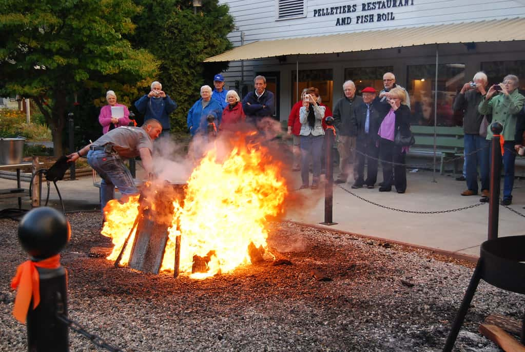 Cool things to do in Door County, WI, front view of fish boil in Door County