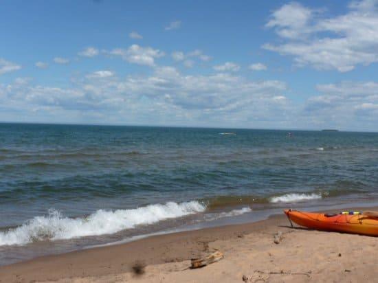 Most scenic beaches in Wisconsin, view of Meyer's Beach, Cornucopia, Lake Superior