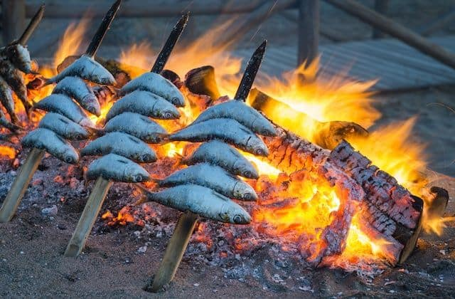 popular Food from Southern Spain, Espetos - Sardine skewers dish