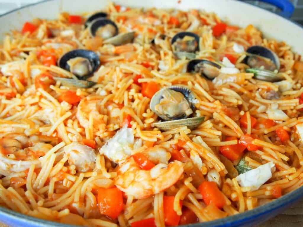 "Famous Dishes in Spain, Fideua – ""Noodle Paella"" dish"