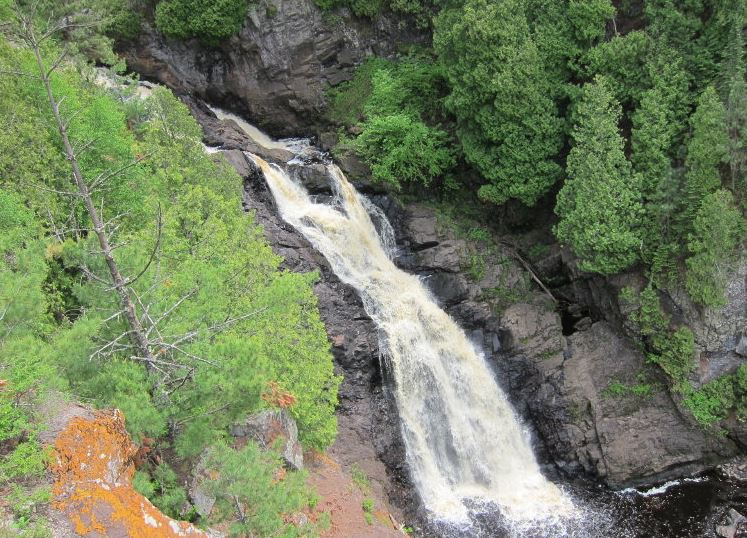 The largest waterfall in Wisconsin, Big Manitou Falls, Pattison State Park, South Range