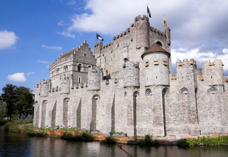 Castle Gravensteen in Ghent Belgium in summer time, brussels day trip to ghent