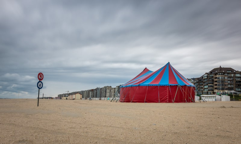 The widest beach on the Belgian, Circus tent on the beach of De Panne