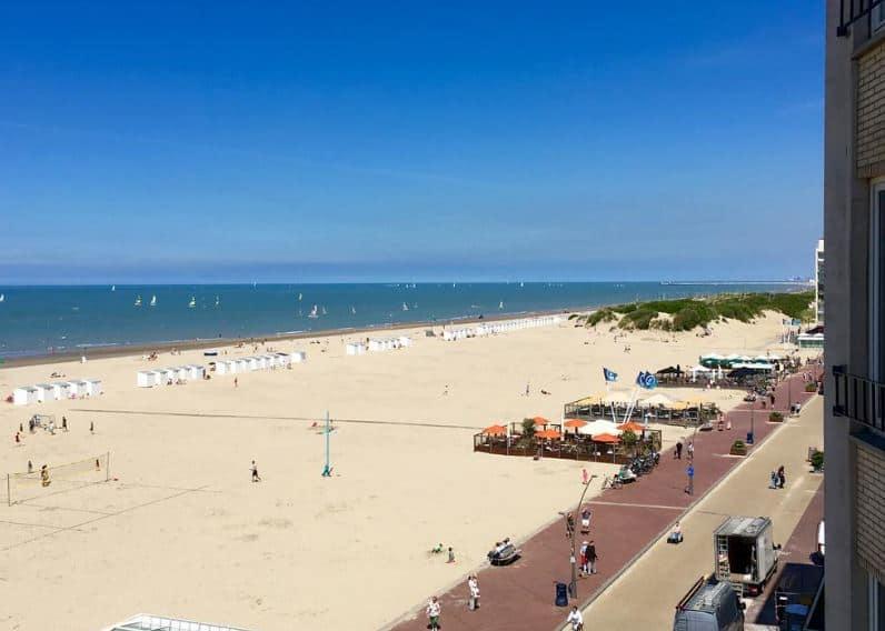 Popular family beach resort in Belgium, beach view of resort in Koksijde - Oostduinkerke