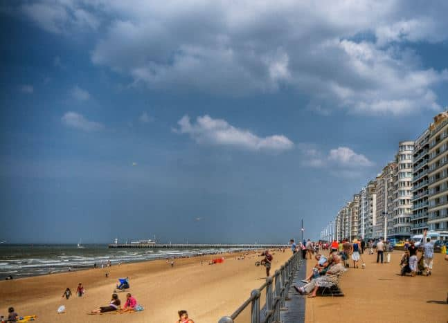 The famous beach resorts in Belgium, beach view in Oostende city, day trip from brussels to ostende