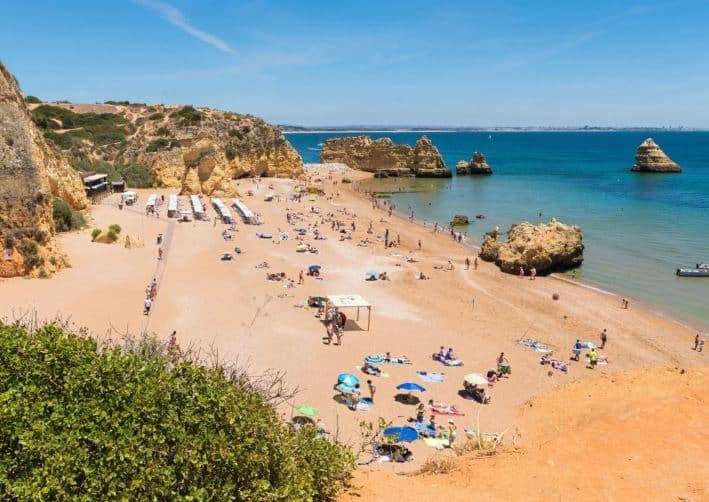 Beautiful beach near Lagos in the Algarve, Praia Dona Ana, Lagos