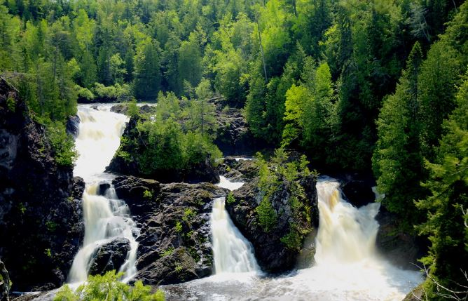 One of the largest falls on the Michigan/Wisconsin, Saxon Falls, Saxon