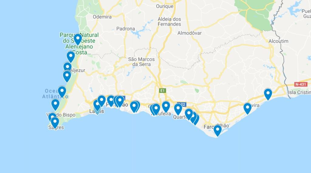 best beaches in algarve map