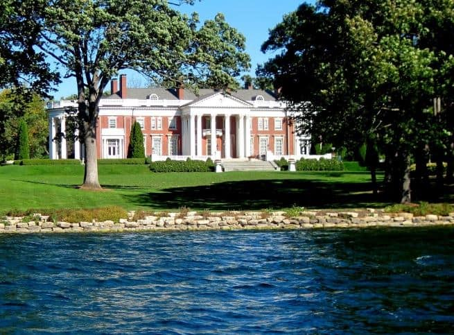 Traditional and historic Stay in Lake Geneva, lake side view of historic mansion