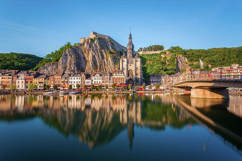 Beautiful Cities in Belgium, lake side city view of Dinant, day trip to dinant