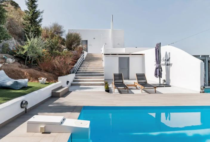 Best Villa Rentals in Paros with pool, Paros Nereids Villa Amphitrite Private Pool Amazing View